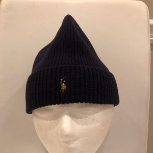 POLO RALPH LAUREN BEANIE HAT, NAVY - NEW